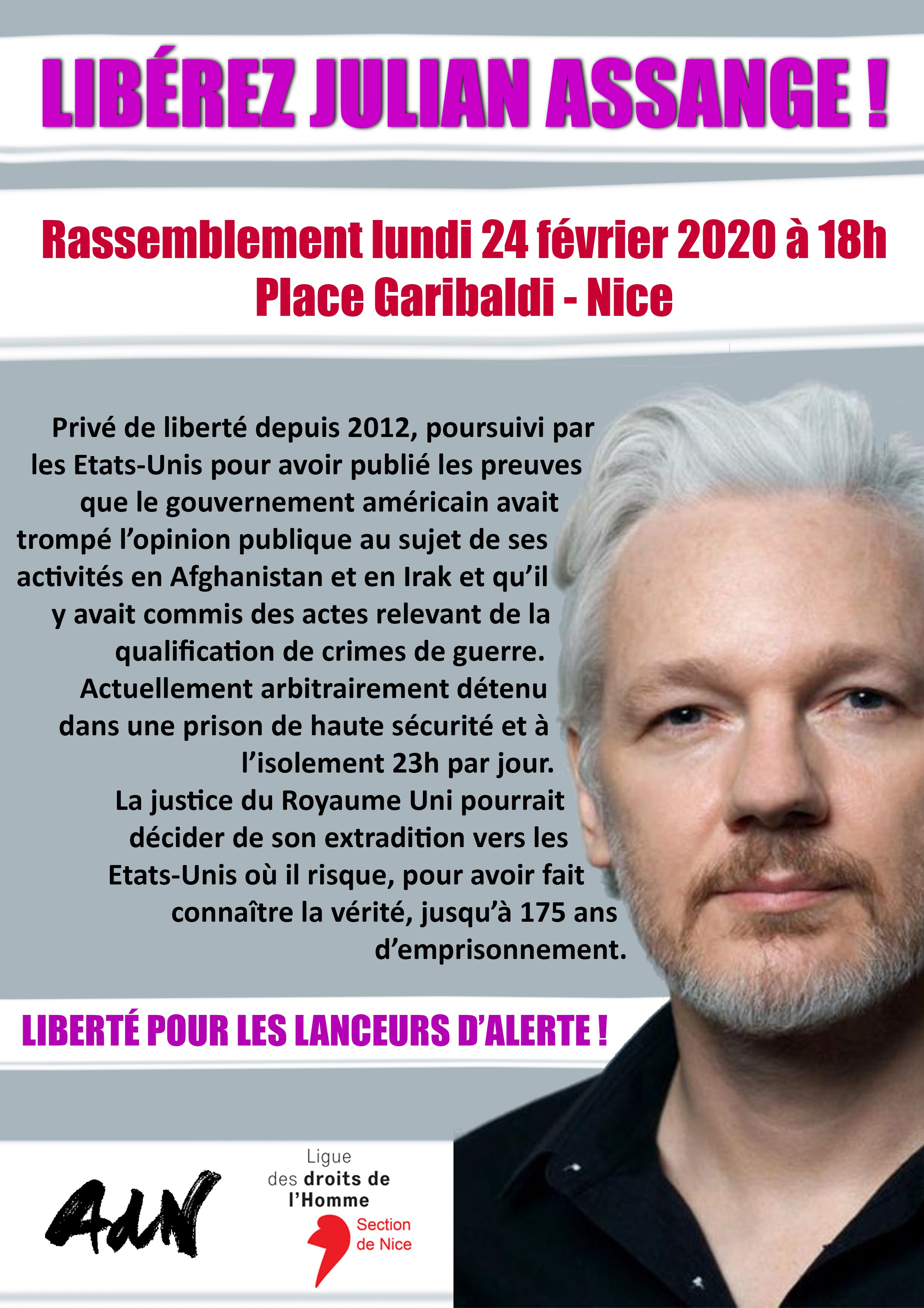 "Rassemblement : ""Libérez Julian Assange"""