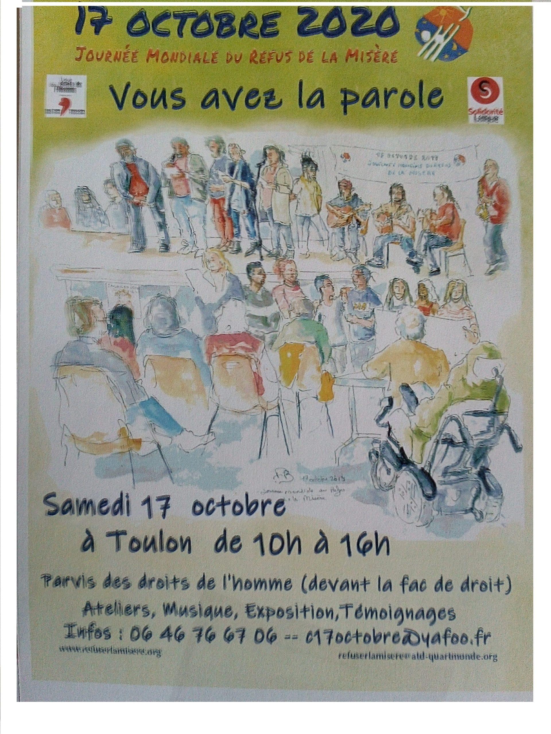 """17 octobre, """"Journée mondiale du Refus de la misère"""""""