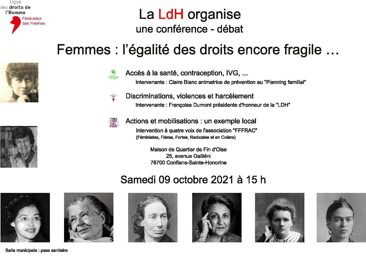 """Conférence-débat : """"Femmes : l'égalité des droits encore fragile..."""""""