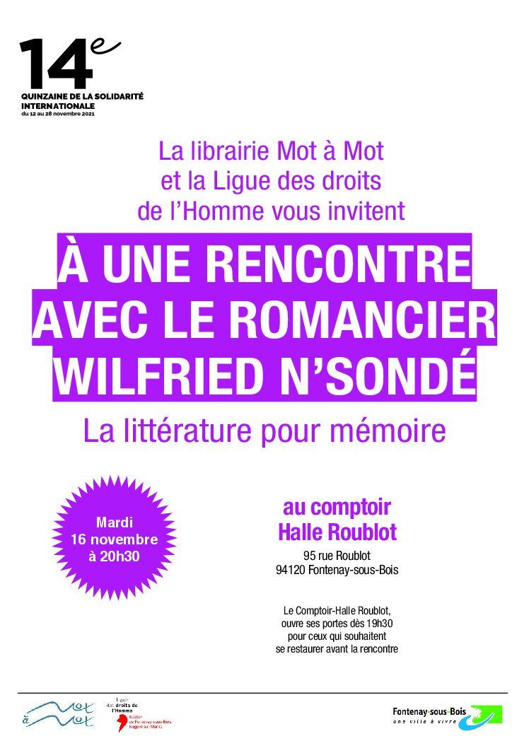 Rencontre avec le romancier Wilfried N'Sondé