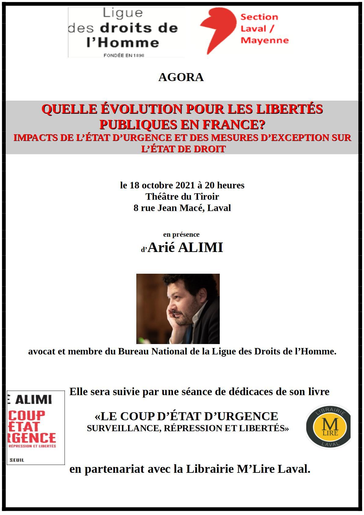 Conférence-débat : Quelle évolution pour les libertés publiques en France ?