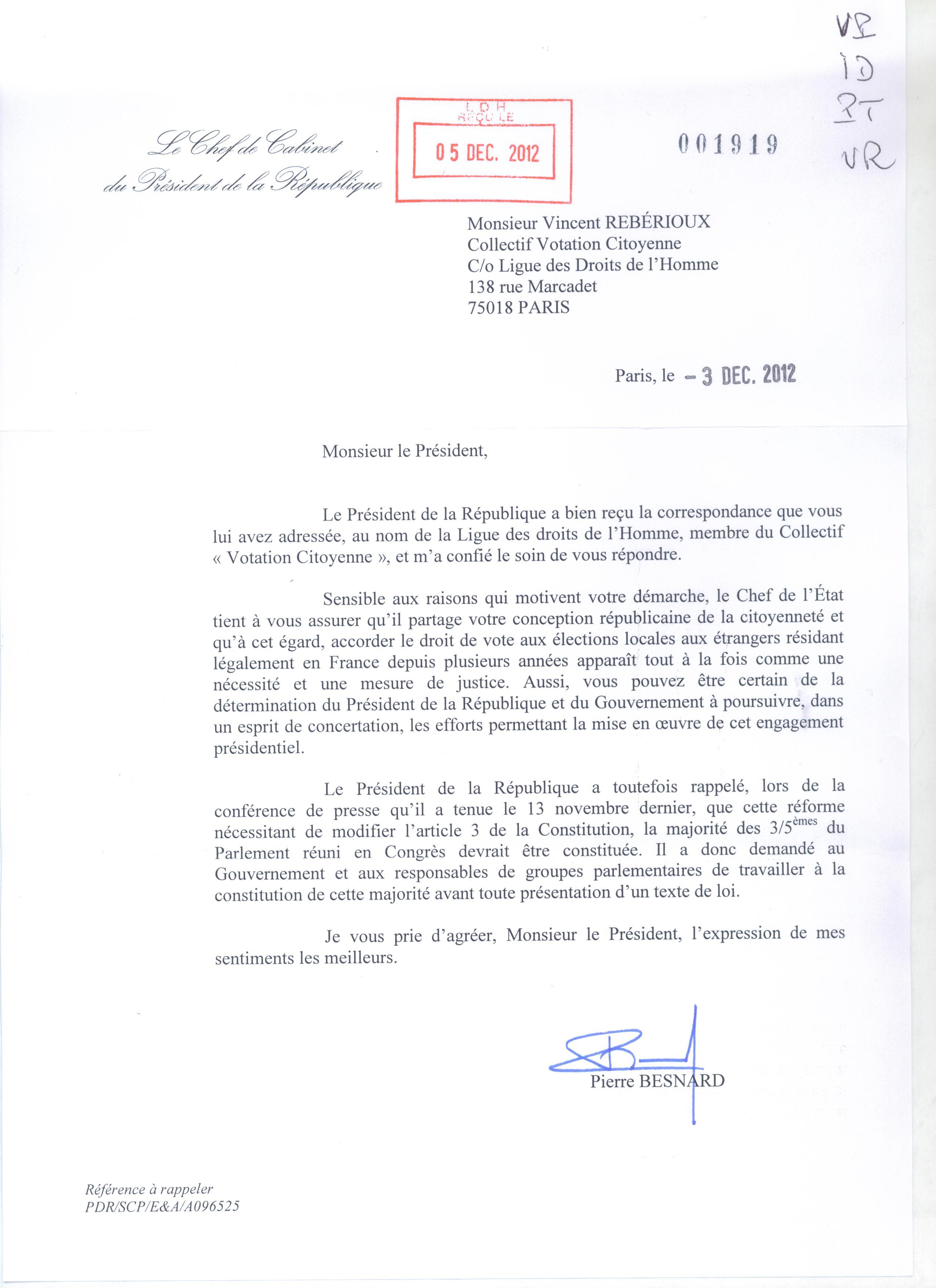 Fran ois hollande et jean marc ayrault r pondent au courrier qui leur a t adress par le - Chef de cabinet du president de la republique ...